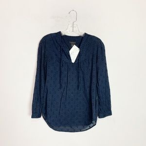 J. Crew navy blue embroidered 3/4 sleeve blouse 0